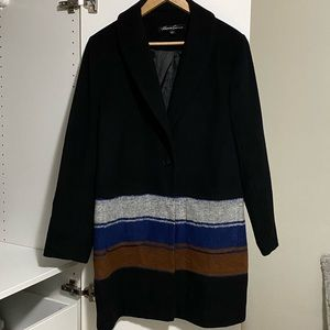 Kenneth Cole Wool Black Coat with Stripes